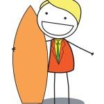 Surf businessman — Stock Vector