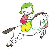 Mädchen pferd — Stockvektor