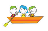 People group at boat — Stock Vector