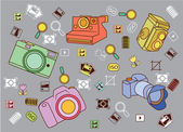Funny and Cute Camera set — Stock Vector