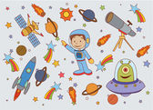 Funny and Cute Planet Space set — Stock Vector