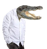 Man with the head of a crocodile — Stock Photo