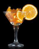 Martini glass with orange — Stockfoto