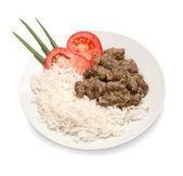Smażony kurczak serca z białym ryżem — Zdjęcie stockowe