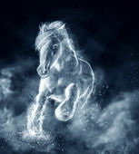 Wild stallion running on clouds — Stock Photo