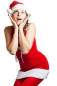 Kerstmis vrouw geschokt. — Stockfoto