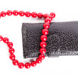 Purse and heart shaped red beads isolated on white — Stock Photo #23528547