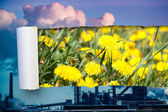 Ecological concept. See through smoked industry to blossom meadow — Stock Photo
