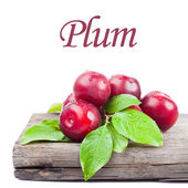 Fresh plums with green leaves — Stock Photo