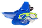 Scuba snorkeling blue diving set — Stock Photo