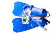 Scuba snorkeling blue diving set. — Stock Photo
