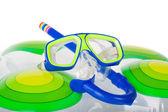 внутренняя труба и плавательный маска — Стоковое фото