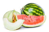Ripe sliced watermelon and melon — Stock Photo