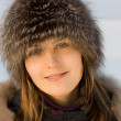 Stock Photo: Woman in a fur hat