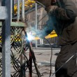 Welder welding metal — Stock Photo