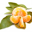 Stock Photo: Tangerine fruits with green leaves