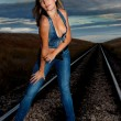 Woman on railway — Stock fotografie