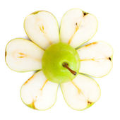 Green sliced pear — Stock Photo