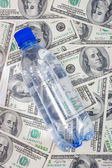 Water bottle on dollars — Stock Photo
