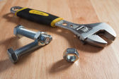 Wrench tool and nut — Stock Photo