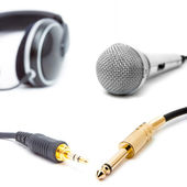 Headphone and microphone — Stock Photo