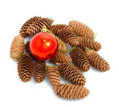 Festive bauble and pine cone — Photo