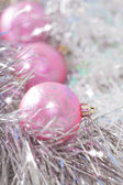 Pink xmas ornaments — Stock Photo