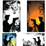 Grunge vector Photographers silhouette set — Stock Vector #10226577