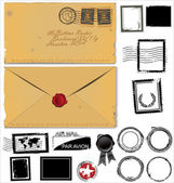 Old envelope and postage stamp set — Vecteur