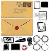 Vieux jeu de l'enveloppe et le timbre poste — Vecteur