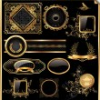 Vector set of vintage framed black and gold labels - Stock Vector