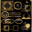 Vector set of vintage framed black and gold labels — Векторная иллюстрация