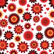 Seamless flower red retro background pattern in vector — Stock Vector