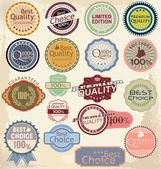 Etiqueta de garantia de satisfação e qualidade premium com estilo vintage — Vetor de Stock