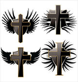 Cross on Black shield with wings set — Stock Vector