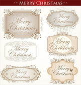 Vintage Christmas Card. Merry Christmas — Stock Vector