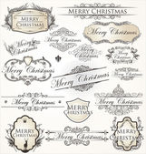 Merry christmas vintage label koleksiyonu — Stok Vektör