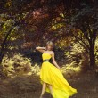 Beautiful lady in fairy forest — Stock Photo