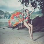 Bright lady on the beach — Stock Photo