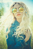 Outdoor portrait of young hippie woman — Stock Photo