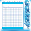 Arithmetic block notes in blue shades - Stock Vector