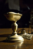 Bronze chalice in Saint Sylvester church in Italy — Stock Photo