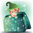 Elf smiling girl coming out from gift wrap — Stock Vector #13158082