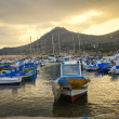 Favignana Port at dusk in Sicily, Italy - Stock Photo