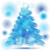 ブルーの落書きクリスマス ツリー — ストックベクタ