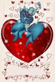 幸せなカバ バレンタイン ハートとリボンを — ストックベクタ