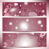 Banderoller med abstrakt moln i rosa nyanser färg — Stockvektor
