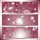ピンクの色合い色の抽象的な雲とバナー — ストックベクタ