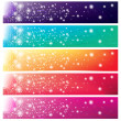 5 colorful banners with shining sun — Stock Vector