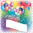 Balloons Party Invitation card with falling board — 图库矢量图片